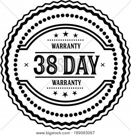 38 days warranty vintage grunge rubber stamp guarantee background