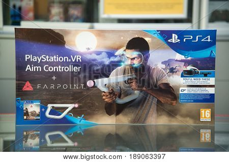 Bratislava, Slovakia, June 1 2017: Playstation VR Aim Controller with Farpoint videogame bundle on playstation 4 console