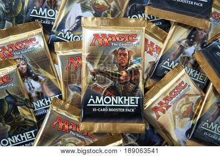 Bratislava, Slovakia, June 1, 2017: Magic the Gathering Booster packs with Amonkhet in the front