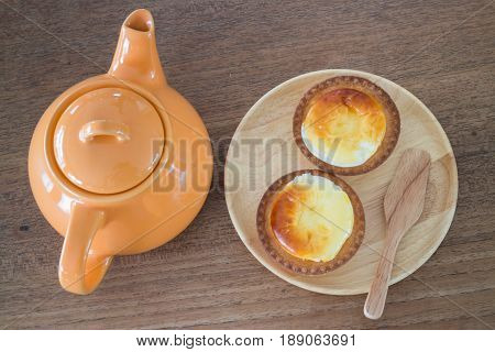 Delicious Mini Cheese Tart Dessert stock photo
