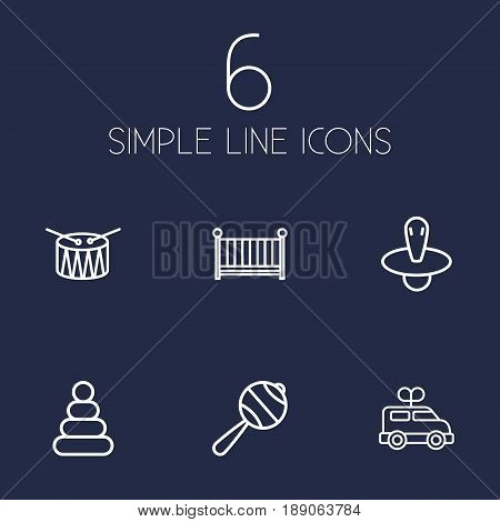 Set Of 6 Kid Outline Icons Set.Collection Of Nipple, Pyramid, Clockwork Car And Other Elements.