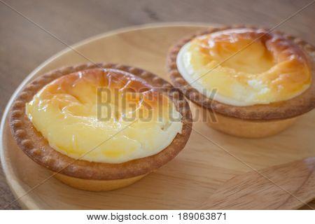 Delicious Mini Cheese Tart Dessert stock photo