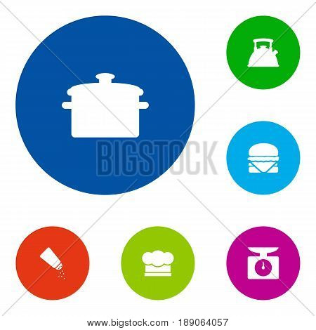 Set Of 6 Cooking Icons Set.Collection Of Weighing Machine, Saucepan, Teapot And Other Elements.