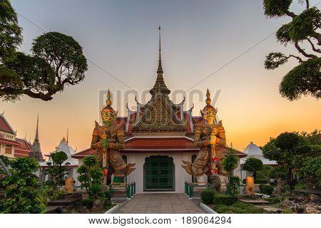 Two statue giant at churches Wat Arun Bankok Thailand