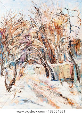 winter landscape view to the road in park