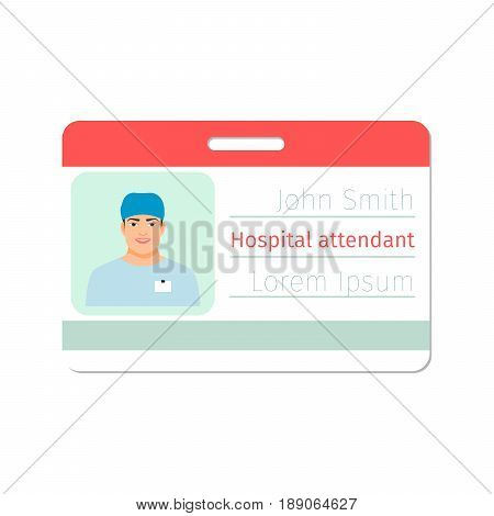 Hospital attendant medical specialist badge template for game design or medicine industry. Vector illustration