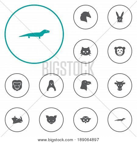Set Of 12 Zoology Icons Set.Collection Of Steed, Hog, Diver And Other Elements.