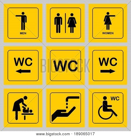 WC / Toilet door plate icons set. Men and women WC sign for restroom.