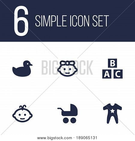 Set Of 6 Kid Icons Set.Collection Of Pram, Baby, Duck And Other Elements.