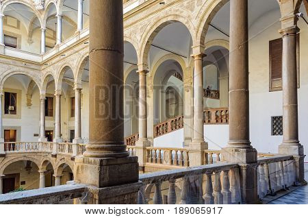 The loggia of the Maqueda Courtyard of Norman Palace (Palazzo dei Normanni) - Palermo Sicily Italy, 20 October 2011