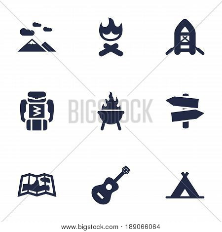 Set Of 9 Outdoor Icons Set.Collection Of Landscape , Campfire , Bbq Elements.