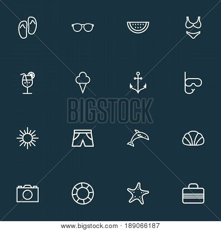 Sun Outline Icons Set. Collection Of Baggage, Lifesaver, Sunny And Other Elements. Also Includes Symbols Such As Briefs, Lifesaver, Cocktail.