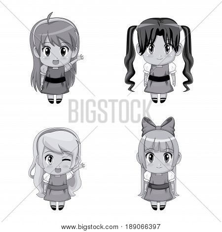 monochrome set full body cute anime tennagers girls facial expression vector illustration