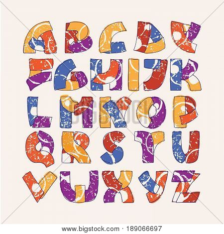 Colorful alphabet set with hand drawn letters sequence from A to Z on beige background. Vector collection hand written in bright colors. Font decorated with abstract splashes and drops in random order