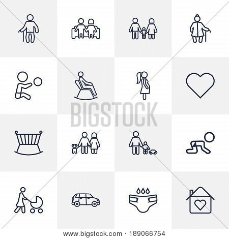 Set Of 16 People Outline Icons Set.Collection Of Lovers, Family, Man In Armchair And Other Elements.