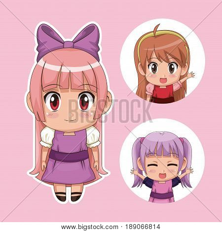 color set cute anime tennagers girl in dress with several facial expressions vector illustration