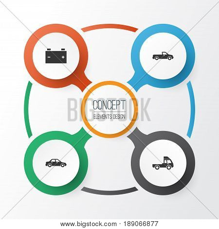Automobile Icons Set. Collection Of Van, Automobile, Carriage And Other Elements. Also Includes Symbols Such As Car, Van, Carriage.
