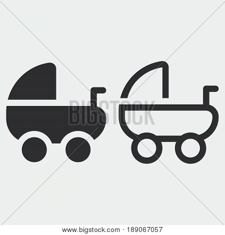 Pram icon solid and outline isolated on grey