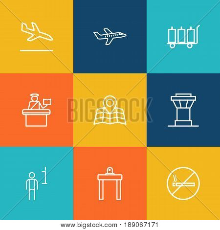 Set Of 9 Plane Outline Icons Set.Collection Of No Smoking, Airport Security, Passport Controller And Other Elements.