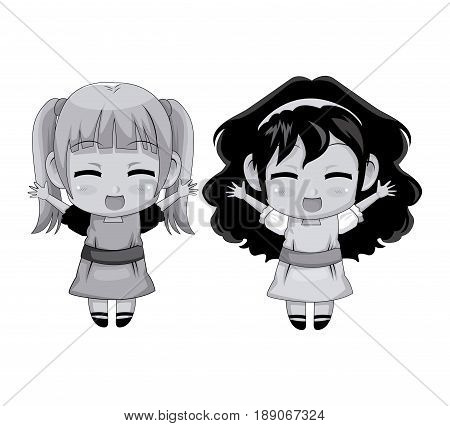 monochrome full body couple cute anime girl facial expression smile and jump vector illustration