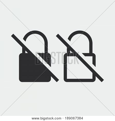 no encryption icon solid and outline isolated on grey