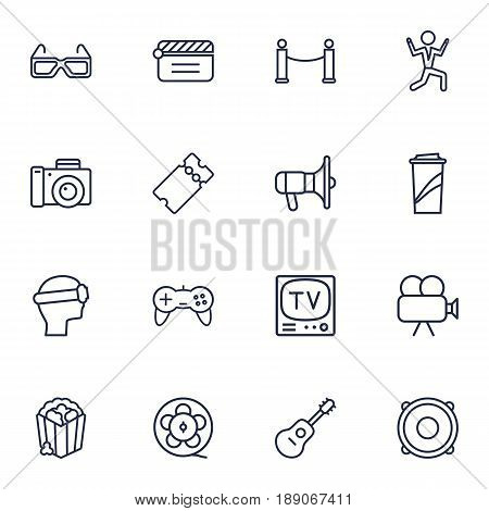 Set Of 16 Amusement Outline Icons Set.Collection Of Dancing Man, Popcorn, Film Role And Other Elements.