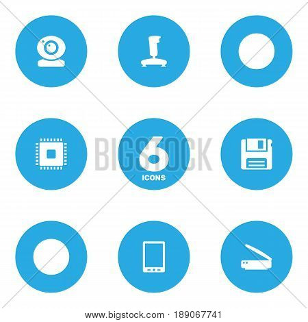 Set Of 6 Laptop Icons Set.Collection Of Diskette, Record, Photocopy And Other Elements.
