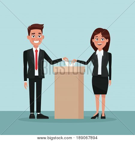 background scene couple in formal suit vote in urn for candidate vector illustration