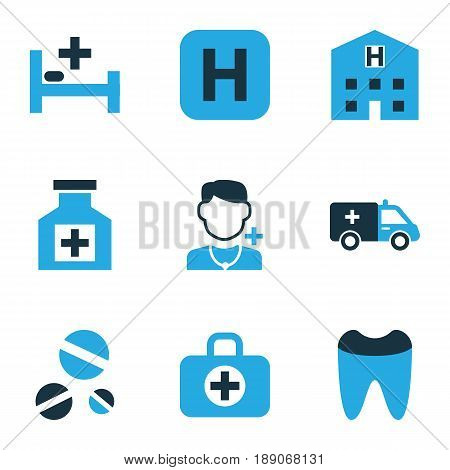 Drug Colorful Icons Set. Collection Of Polyclinic Helipad, Case, Remedy And Other Elements. Also Includes Symbols Such As Medicine, Dental, Building.