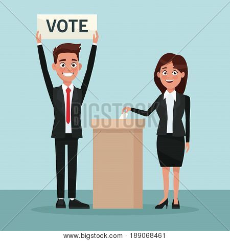 background scene woman in formal suit vote in urn for candidate and man with banner vector illustration