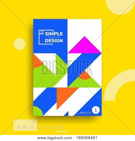 Colorful flat geometric covers design. Vector poster template. Modernism futuristic composition with simple shapes
