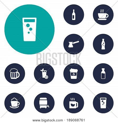 Set Of 12 Beverages Icons Set.Collection Of Turkish Coffee, Bottle, Cask And Other Elements.