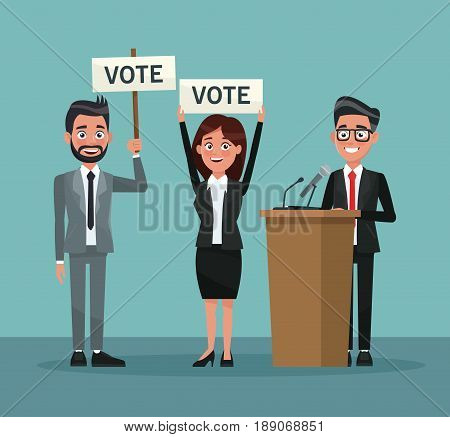background scene set people in formal suit with banner promoving voting and candidate in presentation vector illustration