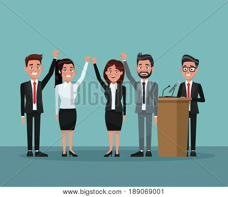 background scene set people in formal suit greeting with male candidate in presentation vector illustration