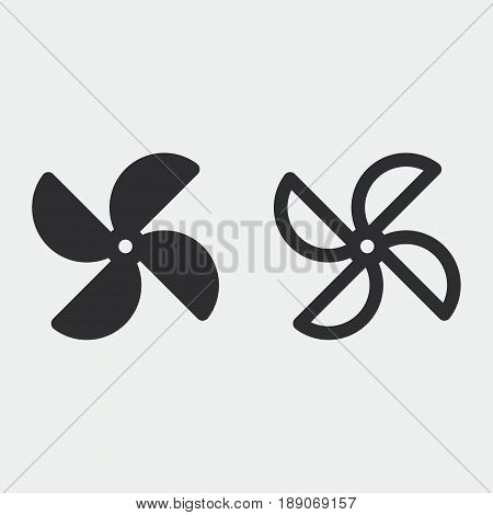 pinwheel icon solid and outline isolated on grey