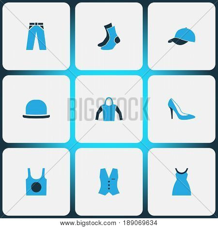 Garment Colorful Icons Set. Collection Of Panama, Trousers, Cap And Other Elements. Also Includes Symbols Such As Vest, Trousers, Hat.