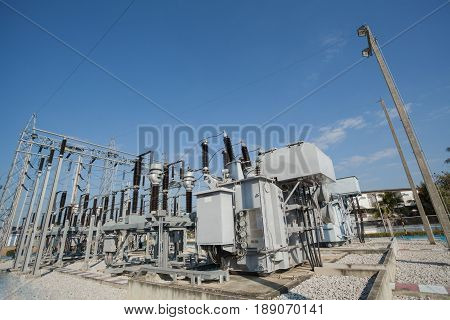 Structure control mechanism High-voltage and transformers. Electrical distribution station