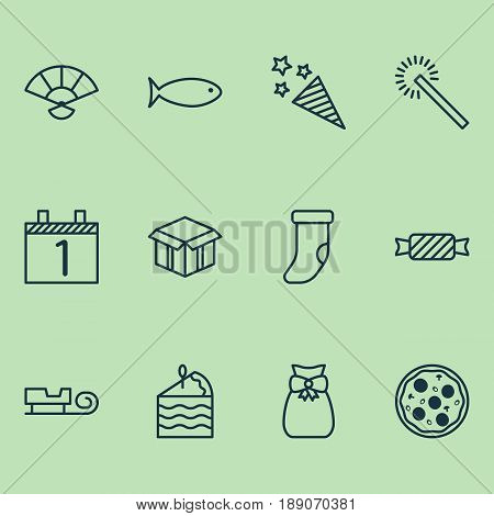 Happy New Year Icons Set. Collection Of Sparkles, Sweet, Firecracker And Other Elements. Also Includes Symbols Such As Pastry, Pizzeria, Pizza.