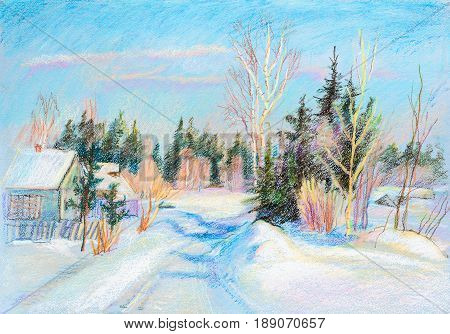 Winter landscape with spruces in  the village