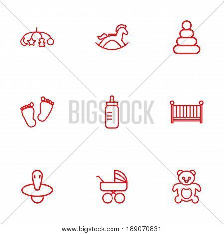 Set Of 9 Baby Outline Icons Set.Collection Of Crib, Teddy, Bottle And Other Elements.