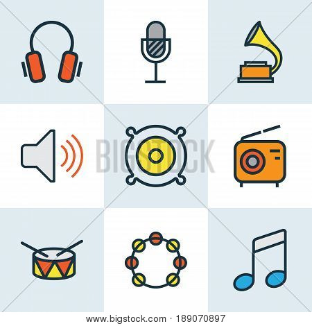 Music Colorful Outline Icons Set. Collection Of Set, Earphones, Volume And Other Elements. Also Includes Symbols Such As Notes, Earphones, Sound.