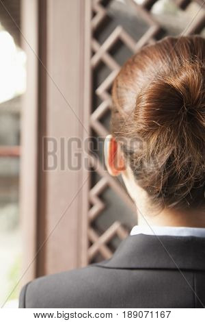 Close up of Chinese businesswoman's hair