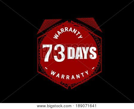 73 days warranty icon vector vintage grunge guarantee background poster