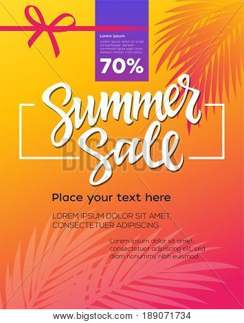 Summer Sale - vector leaflet, brochure, flyer, banner, poster template with hand drawn brush pen lettering with filler text on sunset background with palm tree leaves, red ribbon.