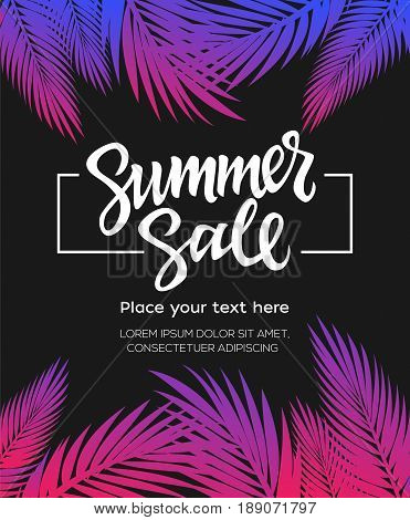 Summer Sale - vector leaflet, brochure, flyer, banner, poster template with hand drawn brush pen lettering with filler text on black background with palm tree leaves.