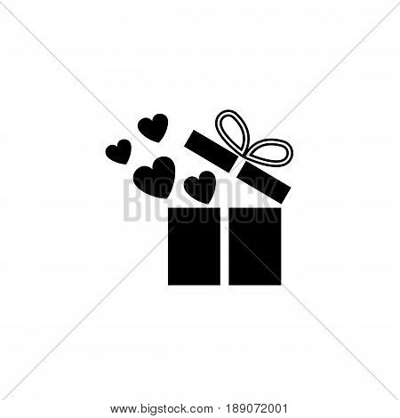 Gift box with hearts solid icon, love present for Valentine's day, vector graphics, a filled pattern on a white background, eps 10.