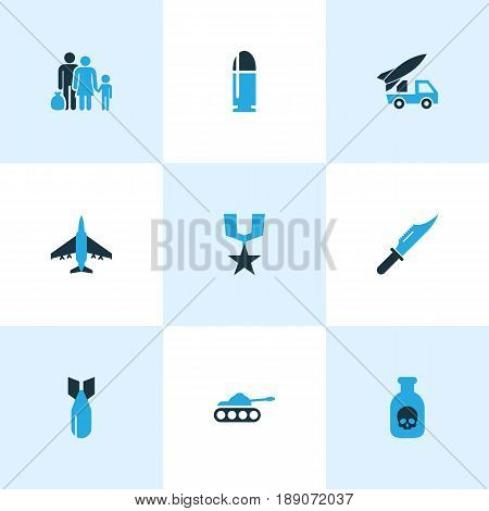 Army Colorful Icons Set. Collection Of Bullet, Refugee, Fighter And Other Elements. Also Includes Symbols Such As Refugee, Tank, Aircraft.