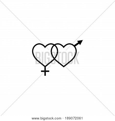 Heterosexual like hearts solid icon, male and female, gender, vector graphics, a filled pattern on a white background, eps 10.