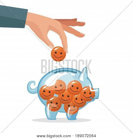 human hand depositing coin in the form of happy face vector illustration