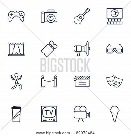 Set Of 16 Entertainment Outline Icons Set.Collection Of Tv Set, Dancing Man, Barrier Rope And Other Elements.